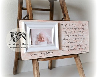 Baptism Gift, Irish Blessing, May Flowers Always Line Your Path, Christening Gift, Goddaughter, Godson, 8x20 The Sugared Plums Frames