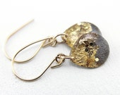 grey dangle earrings with gold leaf and glitter on 14 karat gold, grey earrings, gray earrings, gold earrings, gold drop earrings
