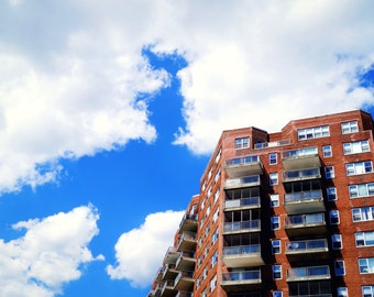 Clouds Over a New York Building, Queens Photography Print, NYC Print
