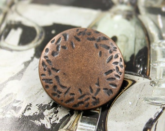 Metal Buttons - Hammered Edge Retro Copper Metal Buttons , Shank , 1 inch , 10 pcs