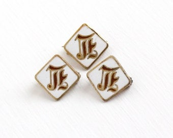 Sale - Antique Gold Washed Sterling Silver Letter E White Enamel Pin Set - Three Tiny Vintage Edwardian 1910s Small Cursive Script Jewelry