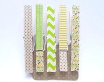 Colorful Washi Tape Clothes Pins Set of 5, Green Gold Washi Tape Party Supplies Stationery Supplies Gifts for Her Classy Paper Products