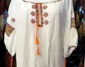 Fab 40s Ethnic Hand Embroidered Peasant Blouse