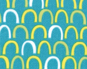 Oink A Doodle Moo Teal Geometric Moda Quilt Fabric by the 1/2 yard