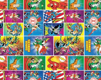DC Comics Heroes  In ActionCamelot Quilt Fabric by the 1/2 yard