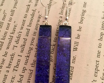 Dichroic glass jewelry, glass, fused glass earrings, handmade dichroic glass, dichroic glass earrings, Dichroic Glass Dangle earrings