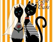 Love Cats Wedding Print