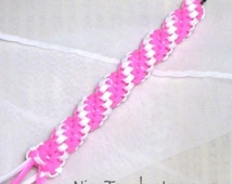 SUMMER SALE!!! Free Shipping or Save 20% ~ Hope woven pink and white twisty gimp keychain ~ Made to Order