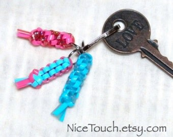 Sleeping Beauty pink and blue key dangle keychain ~Ready to Ship