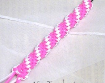 Hope woven pink and white twisty gimp keychain ~ Made to Order