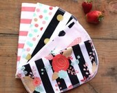 Everyday Napkins - Floral and Feathers - set of 5 - flannel backed