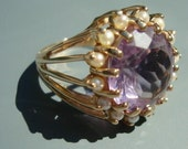 Amethyst and Pearl Ring 14 KT Yellow Gold Size 7 Open Gold Mounting Stunning Custom Made