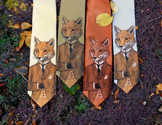 Necktie - Dapper Fox Tie - Men's Fox Necktie - Gifts for Dad