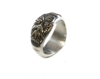 Green Man , Greenman Small Signet Ring Solid Sterling Silver 925 By EZI Zino