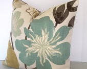Kravet Jellybean Pillow Cover / BOTH SIDES / Gorgeous Pearl / Teal Gray Olive Gold  and Ivory