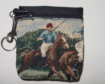 Polo Horse and Rider Tapestry Belt Pack/Key Chain Combo,Polo Horse Handbags