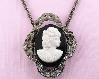 1970's Black & White Cameo on Victorian Setting Scarf Clips -Pendants- NOS, Chains Available