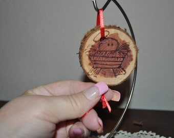Hand Carved Wooden Christmas Ornament