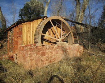 Old Water Wheel Photograph, Abandoned Place Photography, Fine Art Photograph 8x10