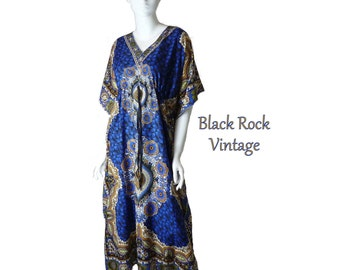 Blue and Gold Dashiki Caftan, Boho Chic Vintage 1980s Flowing Maxi Length Dress Medium/Large