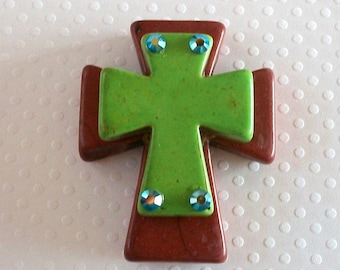 Large Stacked Brown Stone Cross with Lime Green Stone Cross and Bling