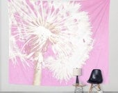 Art Tapestry Wall Hanging Pastel Pink Dandelion Modern Photography Unique home decor white flower baby girl nursery children play room soft