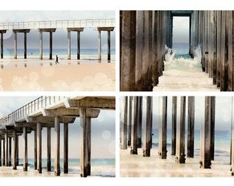 Beach Photography Set Boardwalk Fine Art Metallic photo wall Print Nautical photograph Set ocean home decor aqua blue tan sand geometric