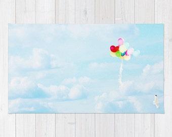 Blue Nursery Rug - Sky Throw Rug - Balloon Area Rug - Sky photography - home decor - Kids Rug