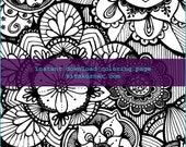 Flower Power Coloring Page - Instant Download