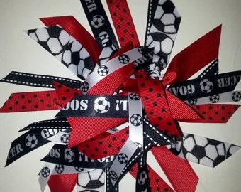 Soccer Ponytail Holder / Sreamer in , Red, Black, and White