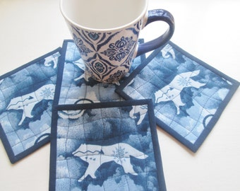 Quilted Fabric Coyote Medicine Coasters - Set of 4