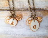 Mama daughter necklace set, Coordinated gift for mom and girl, letter necklaces