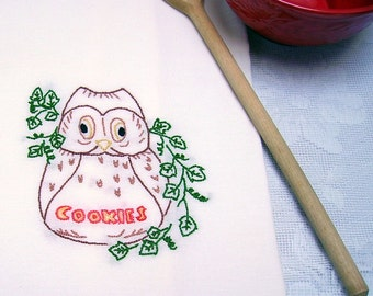 Owl Kitchen Towel - Owl Tea Towel - Owl Dish Towel - Owl Cookie Jar - Hand Embroidered Cotton Flour Sack