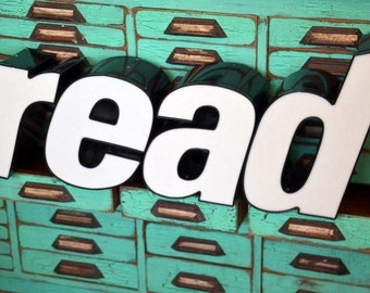 Vintage Marquee Sign Letters READ - r e a d: Large Black & White Wall Hanging Letters / Word -- Industrial Neon Channel Advertising Salvage