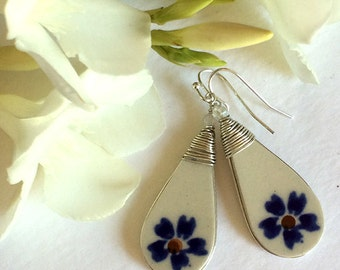 Polish Pottery Jewelry Earrings Blue Garden Flower