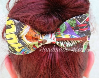 Comic Book Print Fabric Hair Bow Clip
