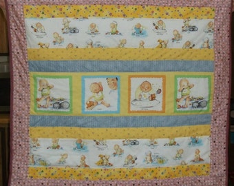 """TWINS BABY Quilts Signing ASL/ rare fabric pink blue and yellow 37.5"""" X 35.5""""/Baby Shower Gift"""