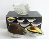Retro 1970s Avocado Prawn Cocktail Bowls in Original Box, Acapulco Dishes, 70s Glassware, Textured Glass, Ice Glass
