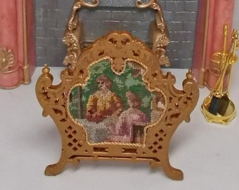 Dolls house miniature Golden carved Firescreen with real antique petit point and Silk Backing.