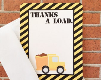 printable construction party thank you note, construction birthday thank you, digital thank you note, black and yellow thanks