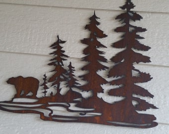 Bear in the Woods Rustic Wilderness art Recycled Steel Home Decor bears and trees