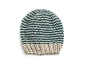 Reversible Teal & Beige Hand Knit Beanie