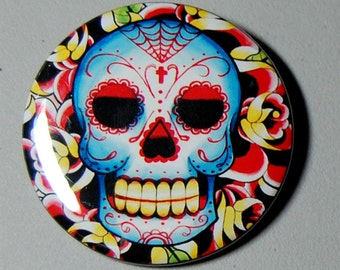 2.25 inch Pin Back Button - Sugar Skull - Old School Traditional Style Day of the Dead Sugar Skull Girl Colorful Tattoo Flash Art Pin