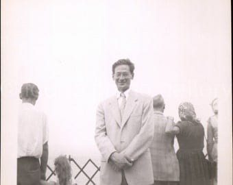 Vintage Photo, Man on Ferry, Windy Day, Black & White Photo, Found Photo, Old Photo, Snapshot, Vernacular Photo, 1950's