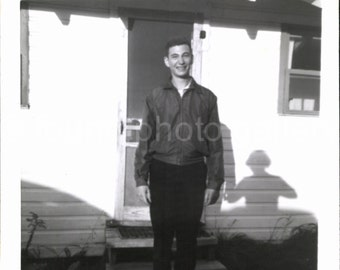 Vintage Photo, Photo of a Teenage Boy, with a Great Shadow, Black & White Photo, Snapshot, Old Photo, Sunlit Day, Vernacular Photo, Light