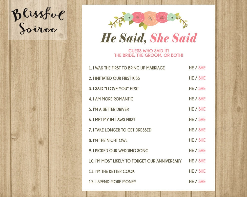 He said she said who said it printable bridal shower game for He said she said bridal shower game template