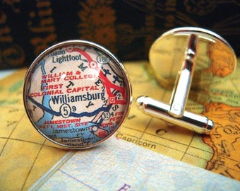 "Custom Map Cuff Links, Williamsburg William & Mary Virginia 3/4"" 20mm Mens Jewelry Gift Ideas Groomsmen Cuff Links Mens World Travel"