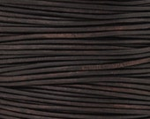 Leather-3mm Round Cord-Soft-Natural Dark Brown-2 Meters
