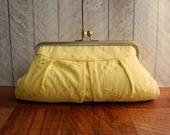 Yellow clutch bag, framed clutch purse, spring fashion, Lemon yellow clutch purse, eyelet clutch