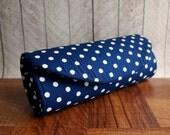 Navy blue clutch, blue and white rockabilly clutch, polka dot clutch purse. Retro clutch